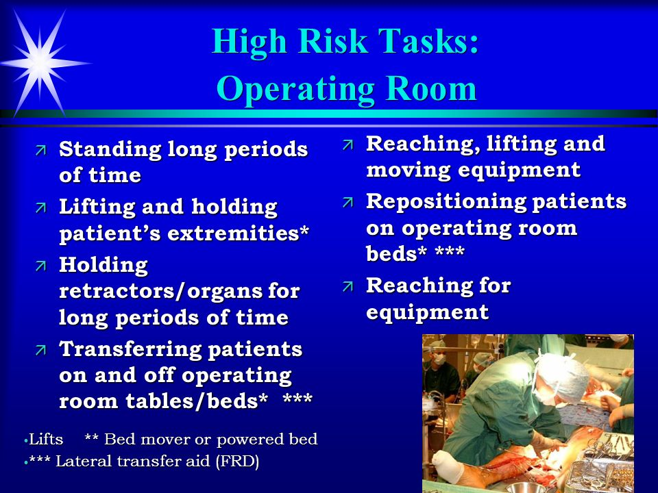 69 High Risk Tasks: Operating Room ä Standing long periods of time ä Lifting and holding patients extremities* ä Holding retractors/organs for long pe