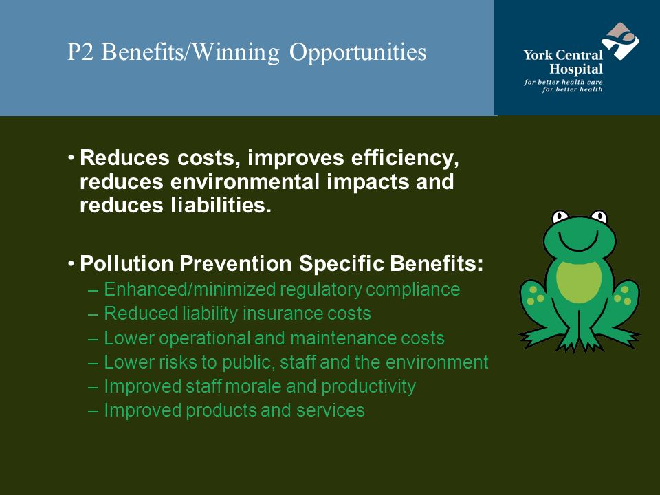P2 Benefits/Winning Opportunities Reduces costs, improves efficiency, reduces environmental impacts and reduces liabilities.