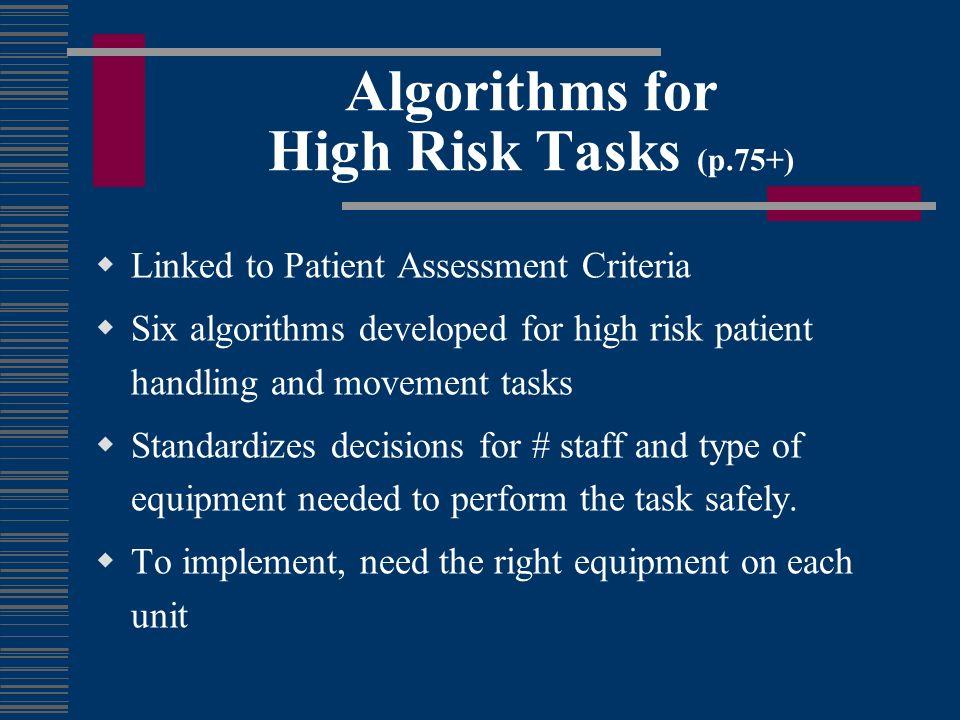 Algorithms for High Risk Tasks (p.75+) Linked to Patient Assessment Criteria Six algorithms developed for high risk patient handling and movement task