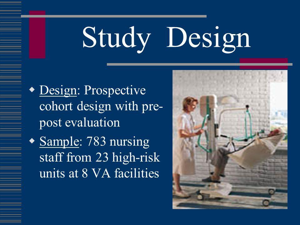 Study Design Design: Prospective cohort design with pre- post evaluation Sample: 783 nursing staff from 23 high-risk units at 8 VA facilities