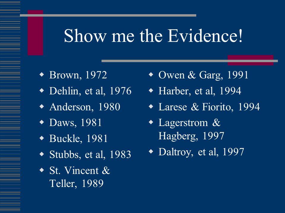 Show me the Evidence! Brown, 1972 Dehlin, et al, 1976 Anderson, 1980 Daws, 1981 Buckle, 1981 Stubbs, et al, 1983 St. Vincent & Teller, 1989 Owen & Gar
