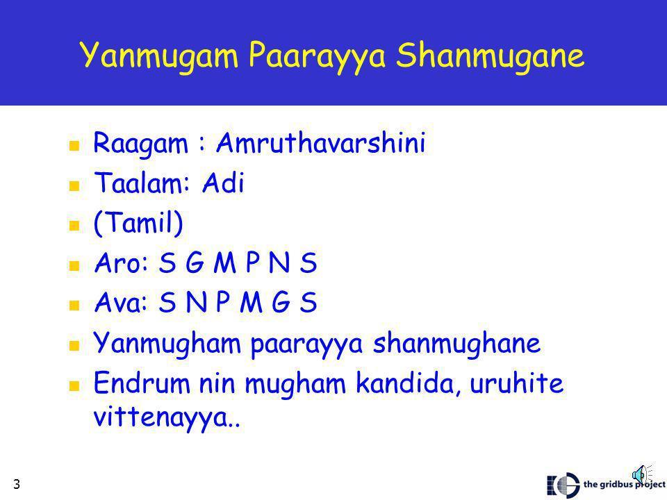 2 Sharanu Siddi Vinayaka Raagam : Souraashtram Taalam : Triputa Composer : Purandara daasa (Kannada) Aro : S R1 G3 M1 p M1 D2 N3 S Ava : S N3 D2 N2 D2 P M1 G3 R1 S Pallavi Sharanu siddhi vinaayaka sharanu vidya pradaayakaa Anupallavi Sharanu paarvati tanaya muuruti, sharanu mooshika vaahanaa Charanam1 Nikhila netrani devi sujani naagabhushana priyane Katila shanmugha komalangani karna kundala dhaarani