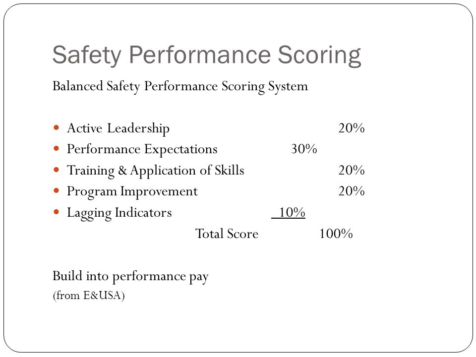 Safety Performance Scoring Balanced Safety Performance Scoring System Active Leadership20% Performance Expectations30% Training & Application of Skills20% Program Improvement20% Lagging Indicators 10% Total Score 100% Build into performance pay (from E&USA)