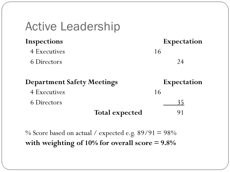 Active Leadership InspectionsExpectation 4 Executives 16 6 Directors 24 Department Safety MeetingsExpectation 4 Executives 16 6 Directors 35 Total exp