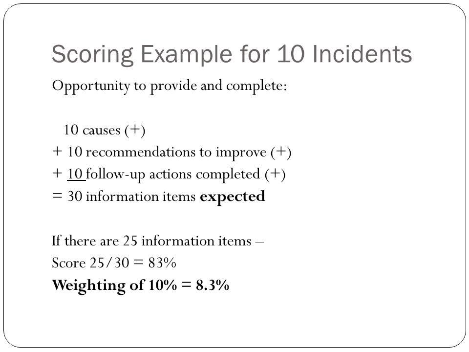 Scoring Example for 10 Incidents Opportunity to provide and complete: 10 causes (+) + 10 recommendations to improve (+) + 10 follow-up actions completed (+) = 30 information items expected If there are 25 information items – Score 25/30 = 83% Weighting of 10% = 8.3%