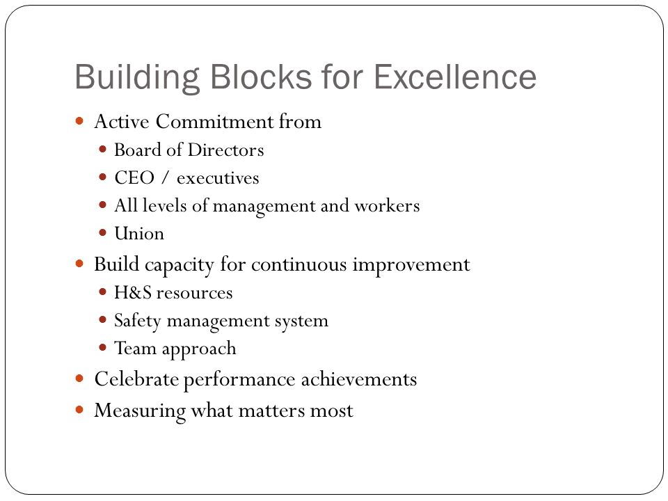 Building Blocks for Excellence Active Commitment from Board of Directors CEO / executives All levels of management and workers Union Build capacity for continuous improvement H&S resources Safety management system Team approach Celebrate performance achievements Measuring what matters most