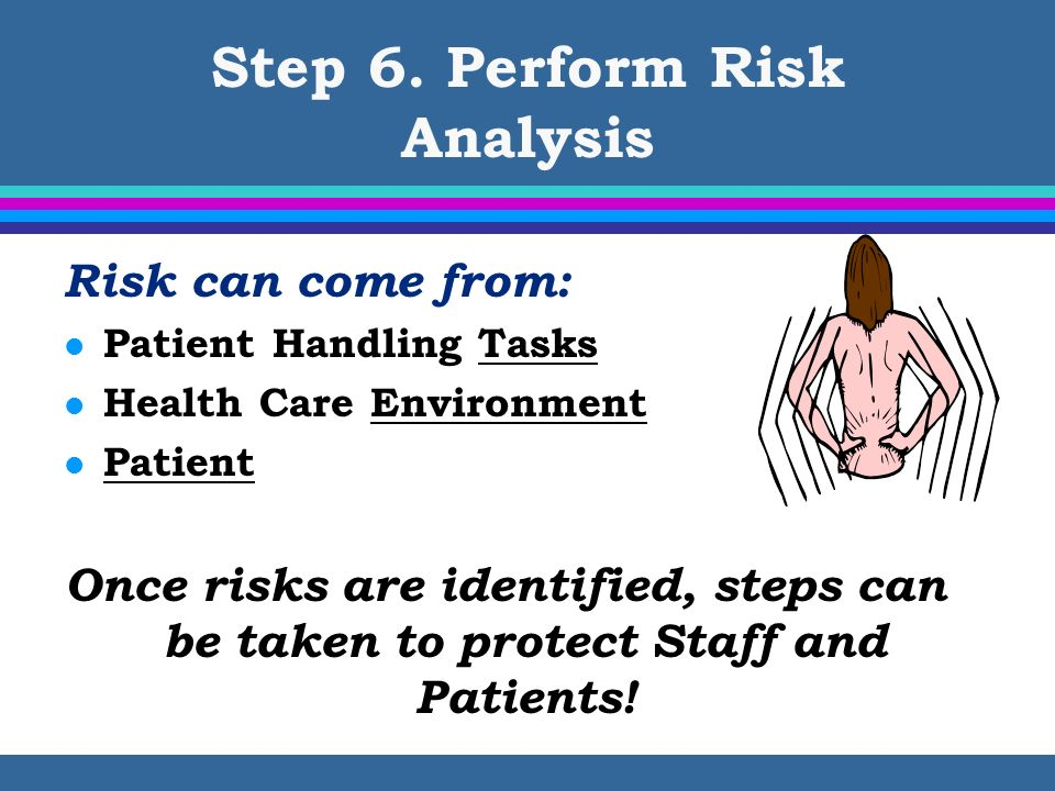 Step 6. Perform Risk Analysis Risk can come from: l Patient Handling Tasks l Health Care Environment l Patient Once risks are identified, steps can be
