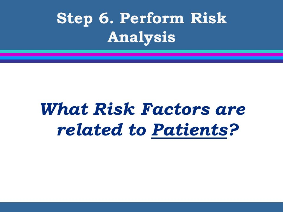 Step 6. Perform Risk Analysis What Risk Factors are related to Patients?