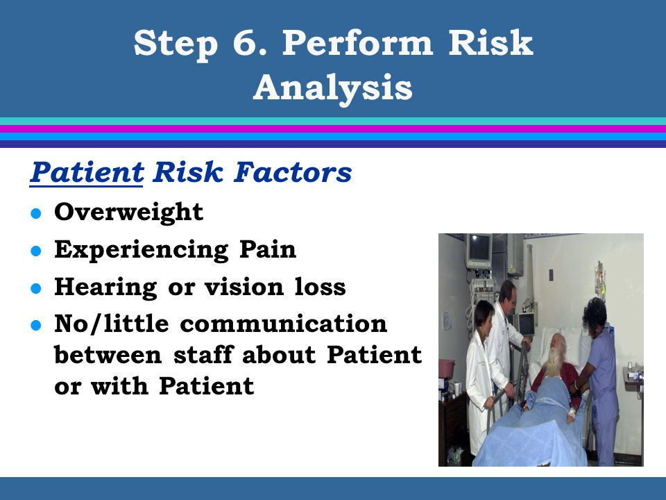 Step 6. Perform Risk Analysis Patient Risk Factors l Overweight l Experiencing Pain l Hearing or vision loss l No/little communication between staff a