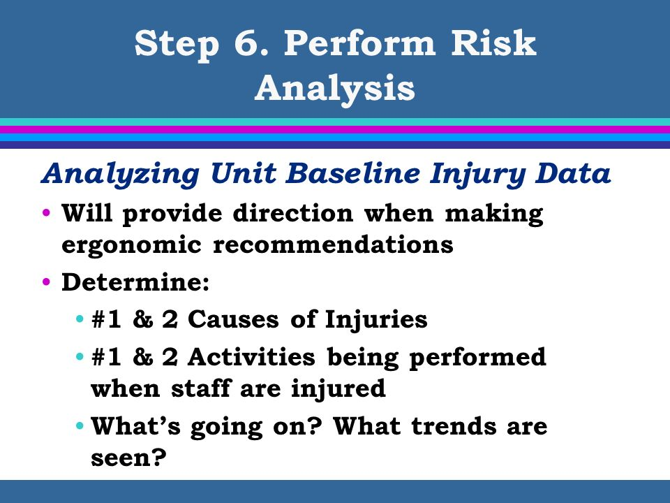 Step 6. Perform Risk Analysis Analyzing Unit Baseline Injury Data Will provide direction when making ergonomic recommendations Determine: #1 & 2 Cause