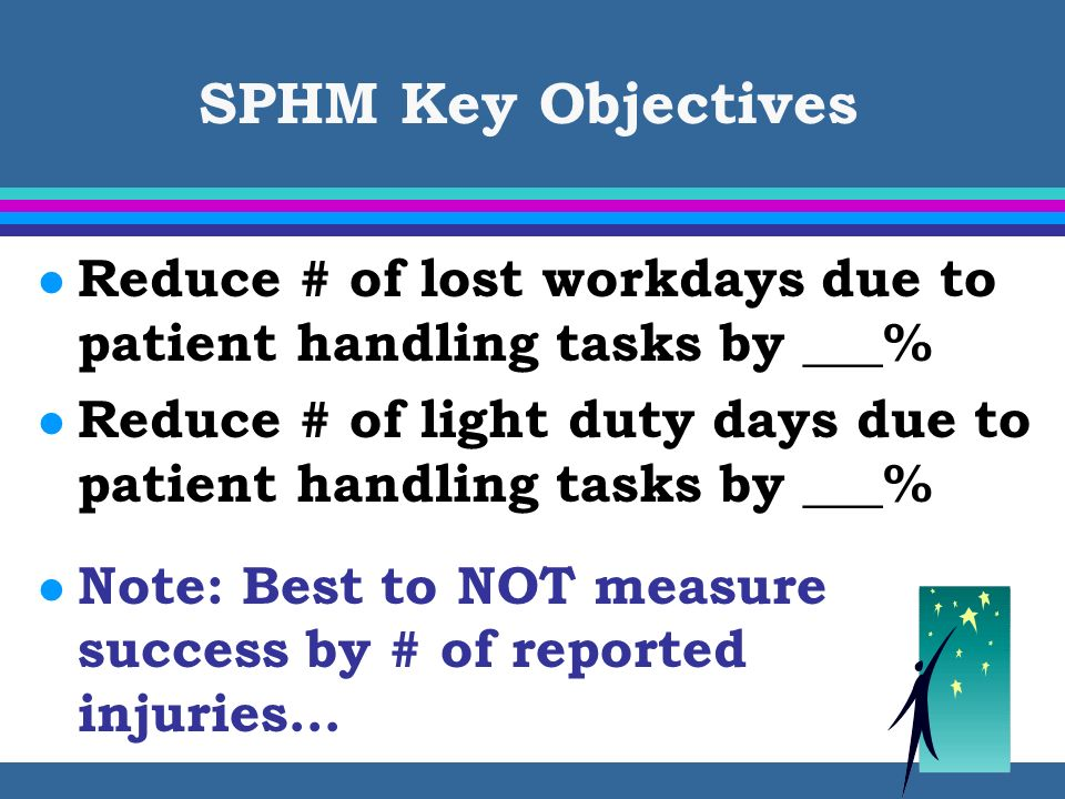 SPHM Key Objectives l Reduce # of lost workdays due to patient handling tasks by ___% l Reduce # of light duty days due to patient handling tasks by _