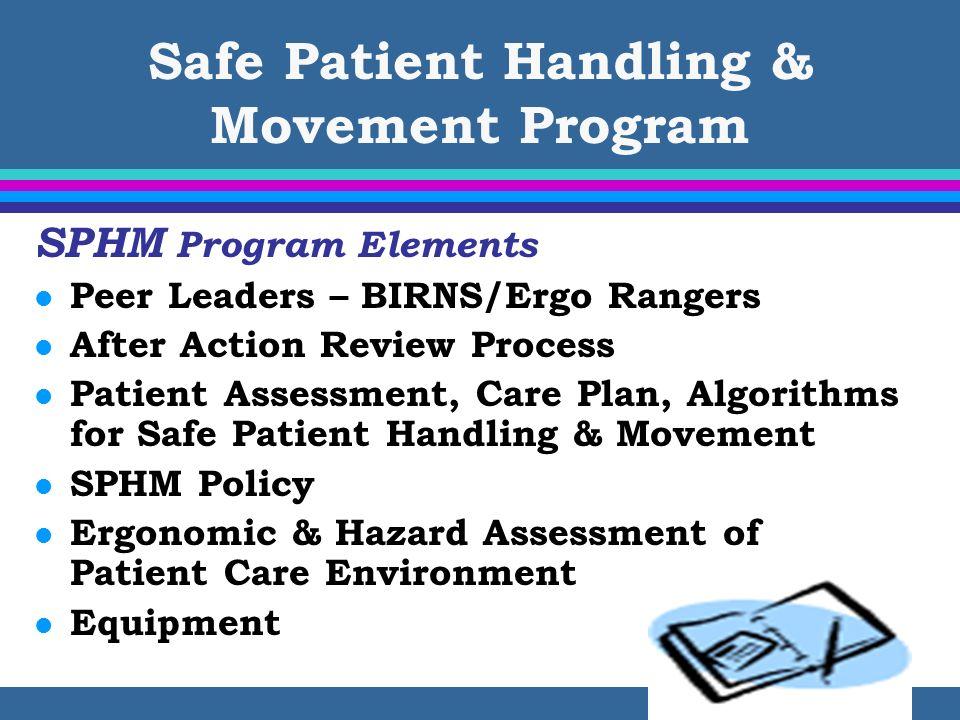Safe Patient Handling & Movement Program SPHM Program Elements l Peer Leaders – BIRNS/Ergo Rangers l After Action Review Process l Patient Assessment,