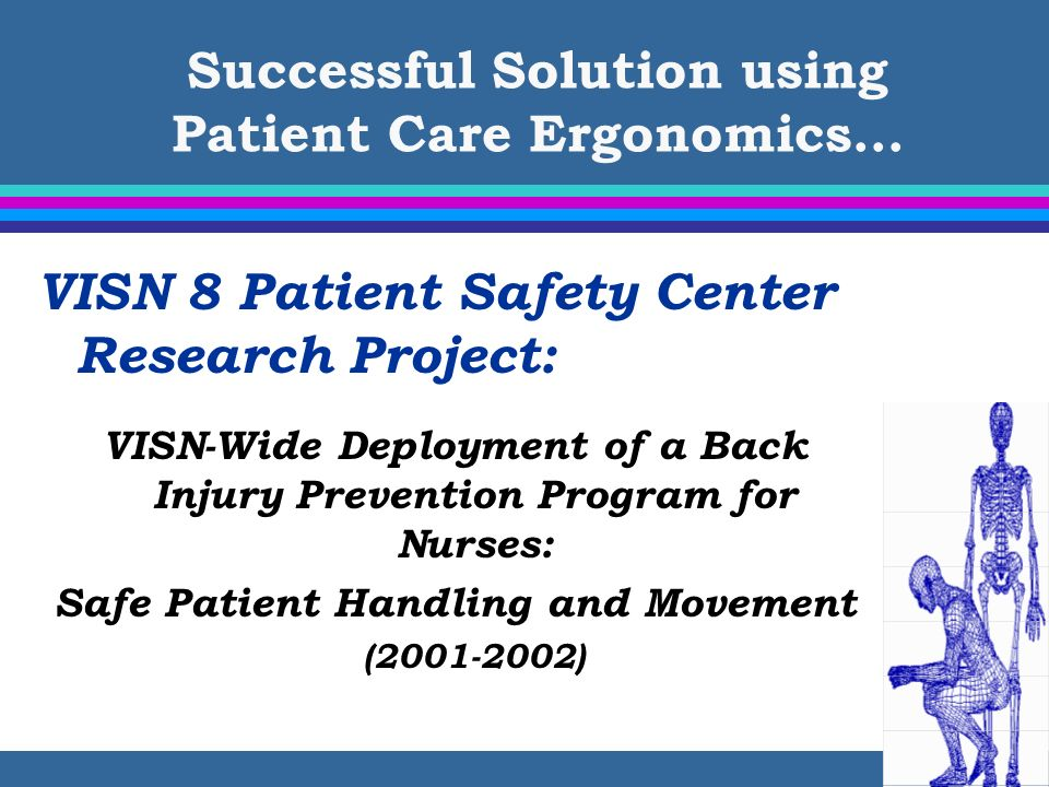 Successful Solution using Patient Care Ergonomics… VISN 8 Patient Safety Center Research Project: VISN-Wide Deployment of a Back Injury Prevention Pro