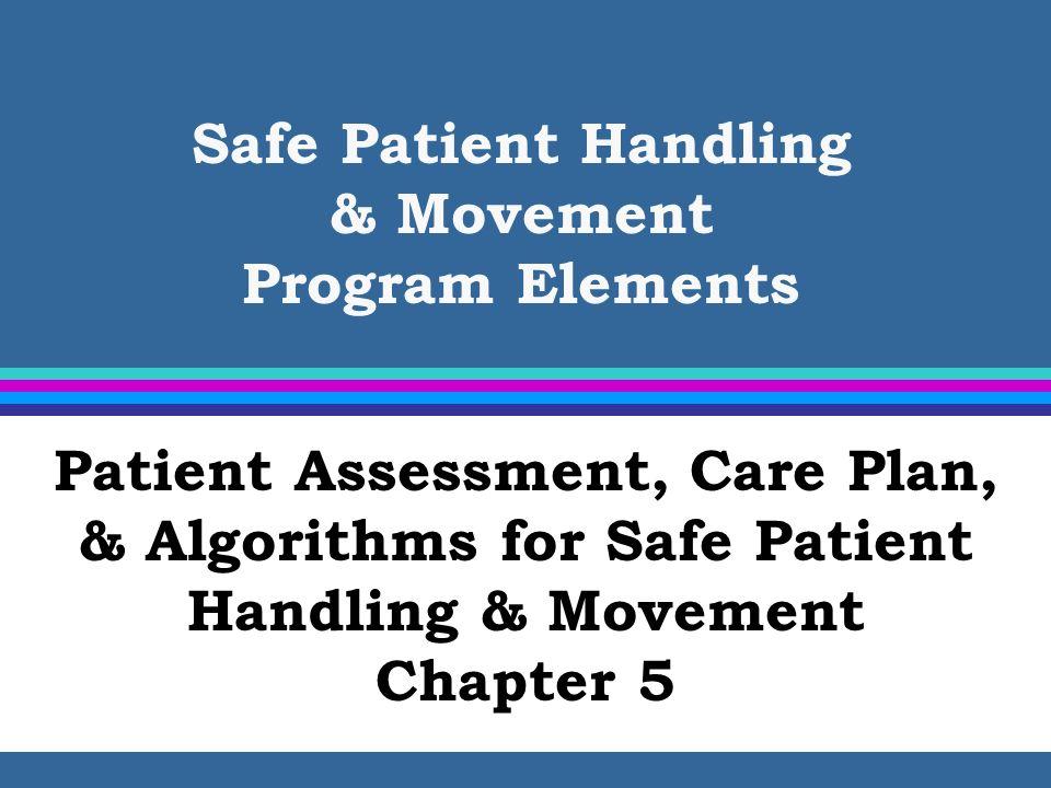 Safe Patient Handling & Movement Program Elements Patient Assessment, Care Plan, & Algorithms for Safe Patient Handling & Movement Chapter 5