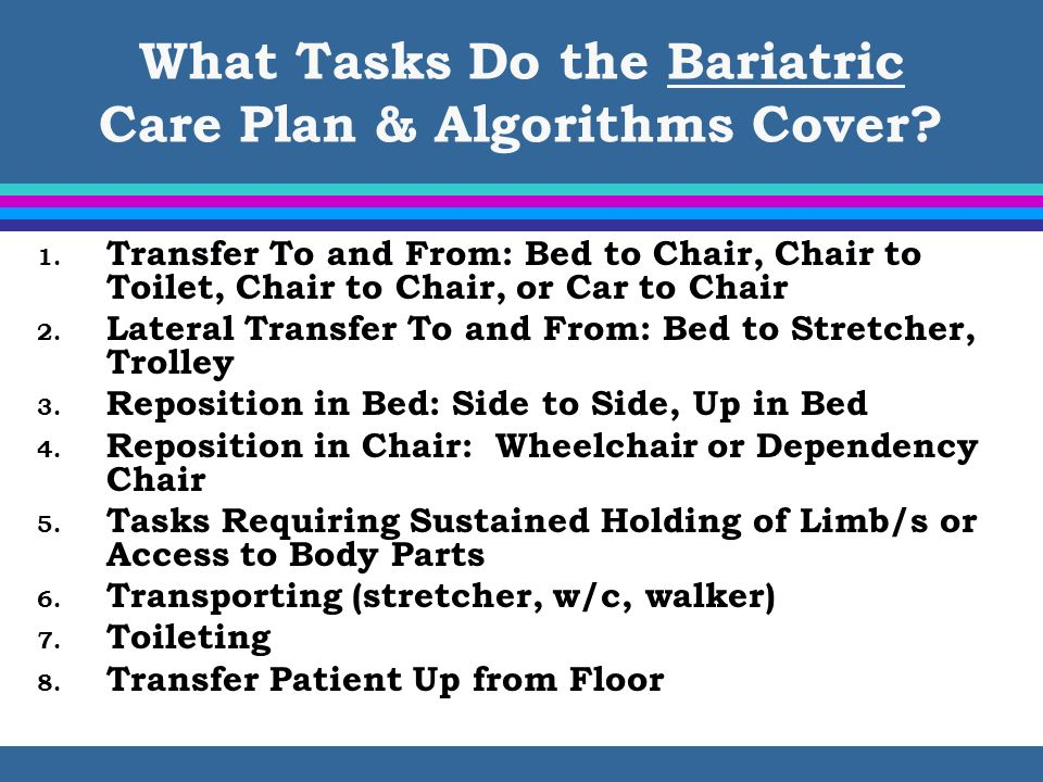 What Tasks Do the Bariatric Care Plan & Algorithms Cover? 1. Transfer To and From: Bed to Chair, Chair to Toilet, Chair to Chair, or Car to Chair 2. L