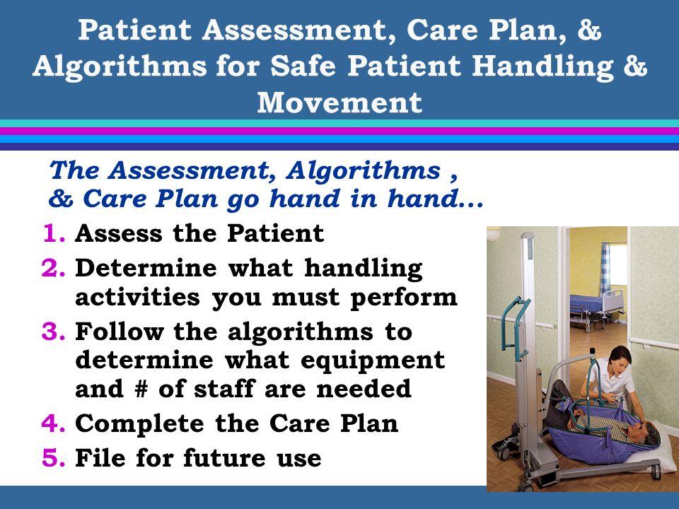 Patient Assessment, Care Plan, & Algorithms for Safe Patient Handling & Movement The Assessment, Algorithms, & Care Plan go hand in hand... 1.Assess t