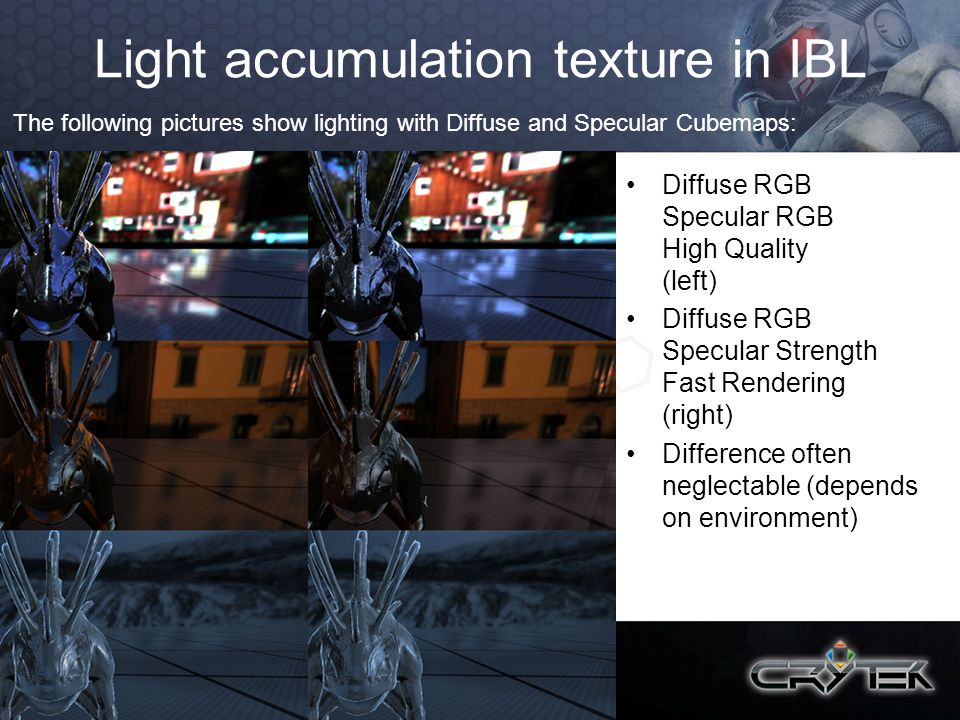 Light accumulation texture in IBL Diffuse RGB Specular RGB High Quality (left) Diffuse RGB Specular Strength Fast Rendering (right) Difference often n
