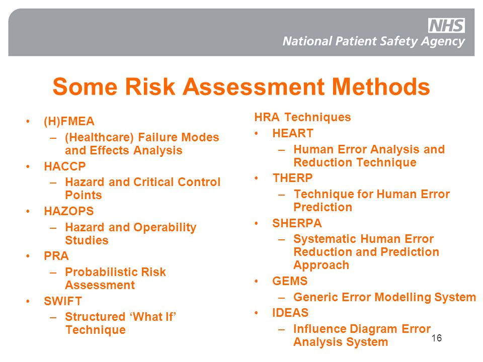 16 Some Risk Assessment Methods (H)FMEA –(Healthcare) Failure Modes and Effects Analysis HACCP –Hazard and Critical Control Points HAZOPS –Hazard and