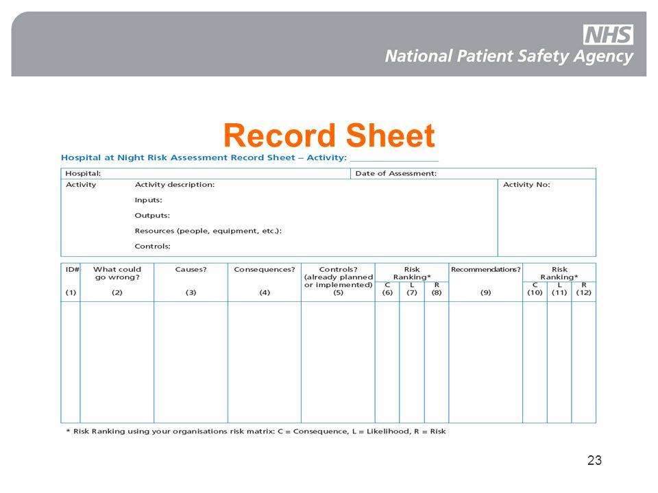 23 Record Sheet
