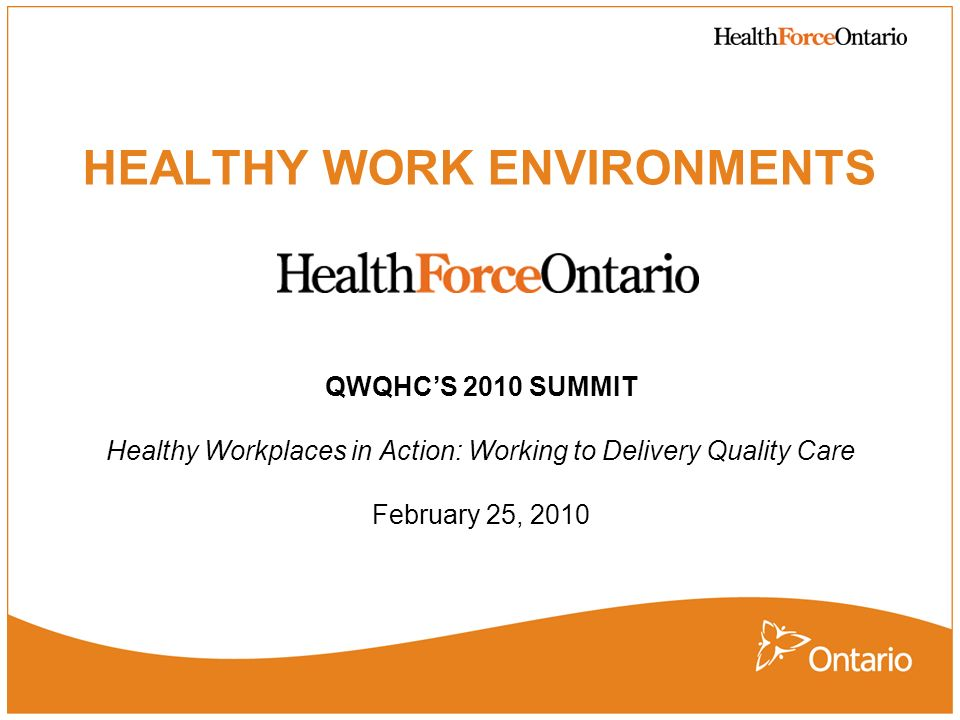 2 Purpose To provide an overview of: 1.The work of HealthForceOntario 2.The importance of HWEs in the health care system 3.The Ministry of Health and Long-Term Cares (MOHLTC) Healthy Work Environments (HWE) initiative 4.Evidence supporting HWE Initiative 5.Examples of innovative HWE interventions 6.Future directions for HWEs