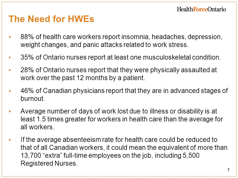 6 The Need for HWEs Compared to other occupations, health professionals have the: Least supportive and healthy workplaces Least influence on workplace decisions Lowest ratings of workplace communication Lowest level of commitment to their employer Lowest level of trust in their employer