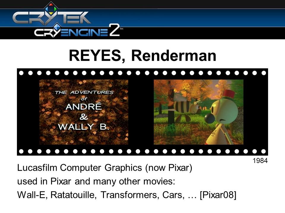 REYES, Renderman Lucasfilm Computer Graphics (now Pixar) used in Pixar and many other movies: Wall-E, Ratatouille, Transformers, Cars, … [Pixar08] 1984