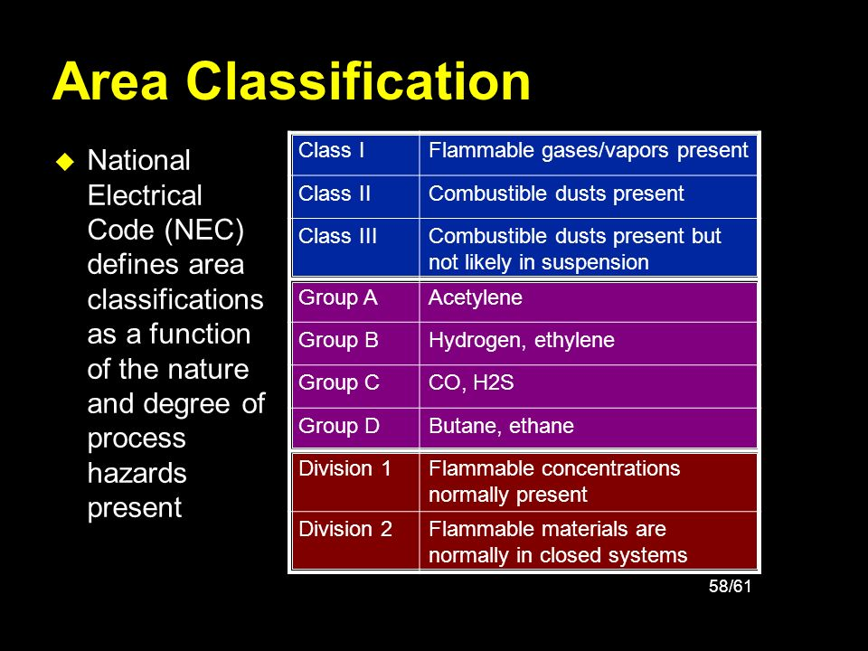 58/61 Area Classification u National Electrical Code (NEC) defines area classifications as a function of the nature and degree of process hazards pres