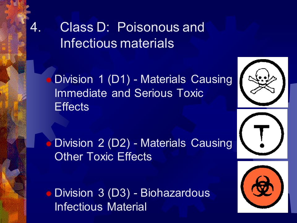 5. Class E: Corrosive material 6.Class F: Dangerously Reactive material