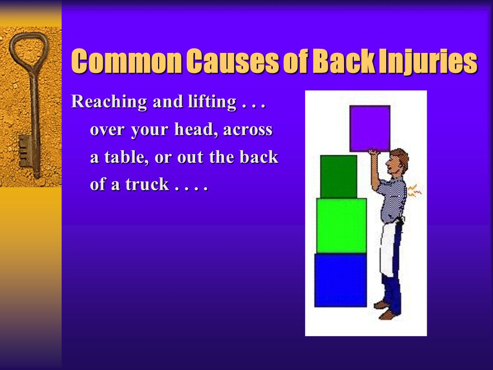 Common Causes of Back Injuries Reaching and lifting... over your head, across over your head, across a table, or out the back a table, or out the back