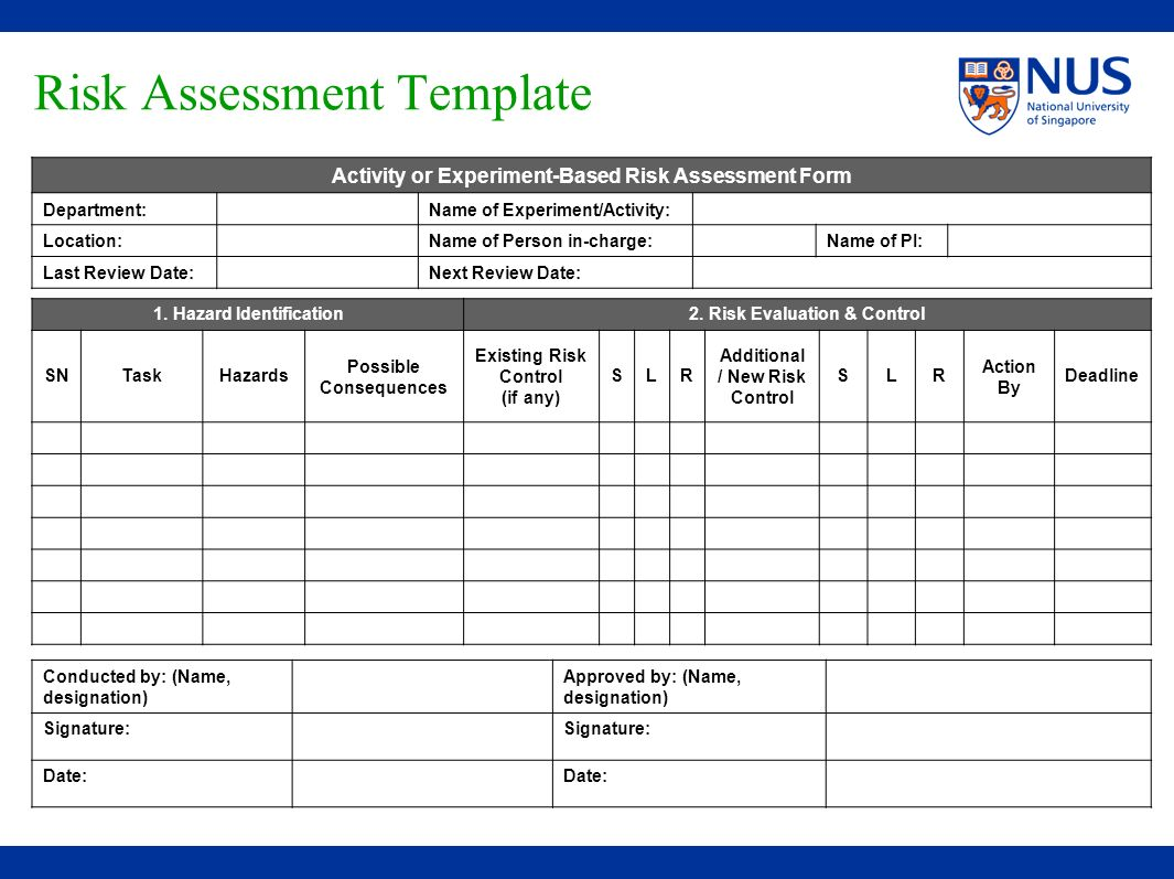 Risk Assessment Template Activity or Experiment-Based Risk Assessment Form Department:Name of Experiment/Activity: Location: Name of Person in-charge: