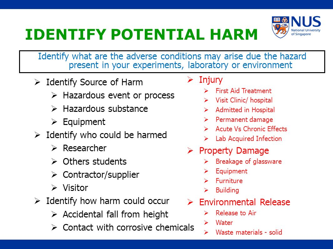 IDENTIFY POTENTIAL HARM Identify Source of Harm Hazardous event or process Hazardous substance Equipment Identify who could be harmed Researcher Other