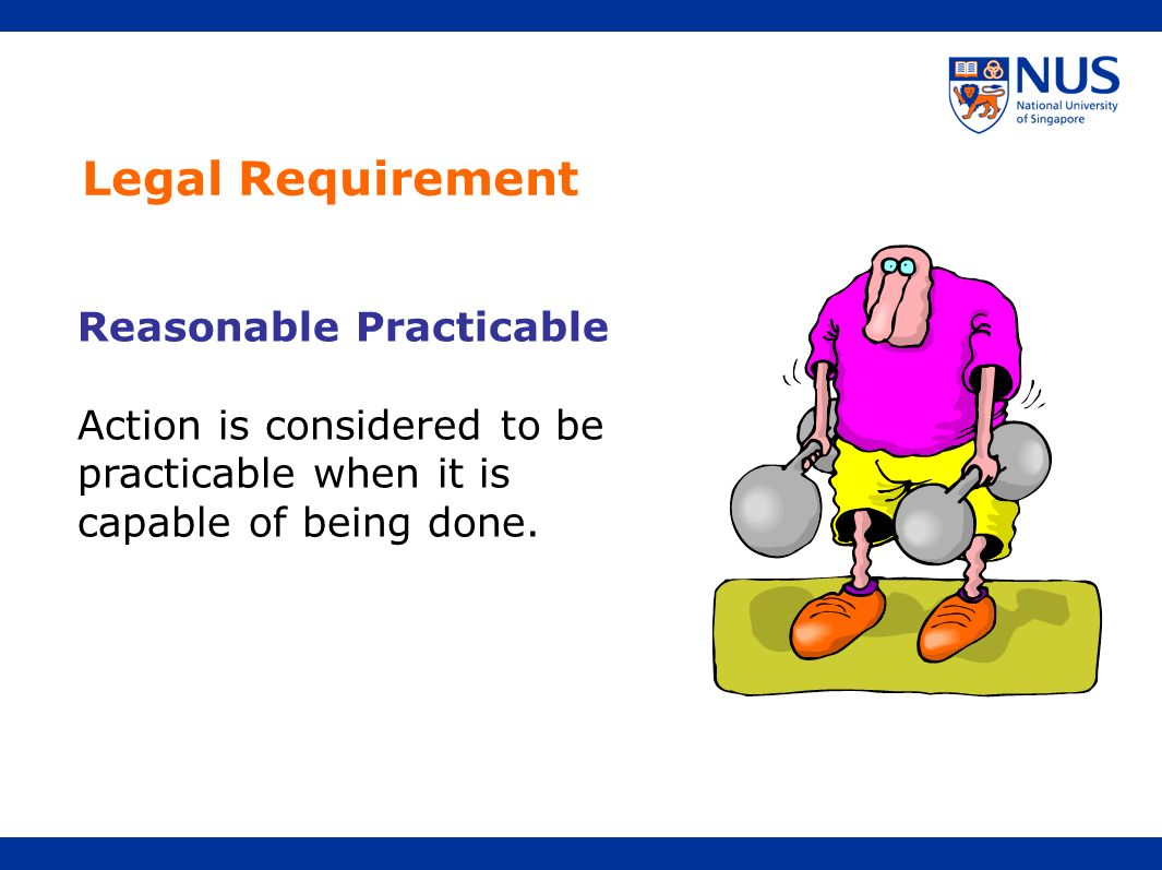 Legal Requirement Reasonable Practicable Action is considered to be practicable when it is capable of being done.