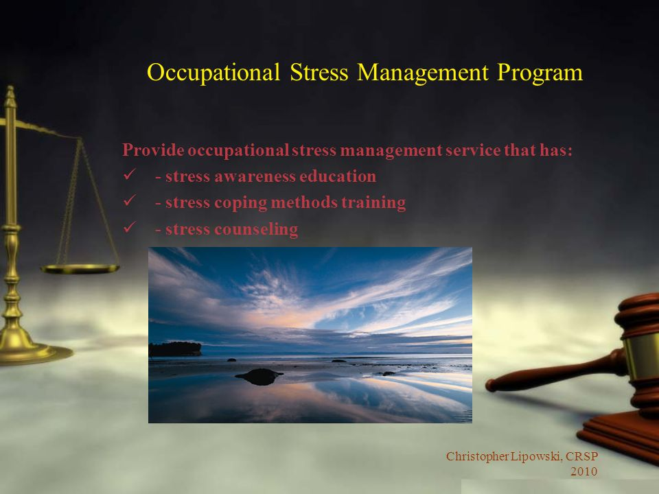 Christopher Lipowski, CRSP 2010 Occupational Stress Management Program Provide occupational stress management service that has: - stress awareness education - stress coping methods training - stress counseling