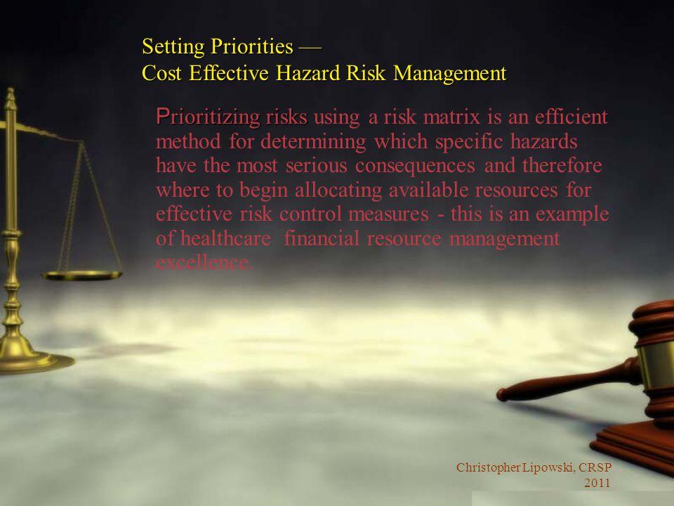 Christopher Lipowski, CRSP 2011 P rioritizing risks P rioritizing risks using a risk matrix is an efficient method for determining which specific haza