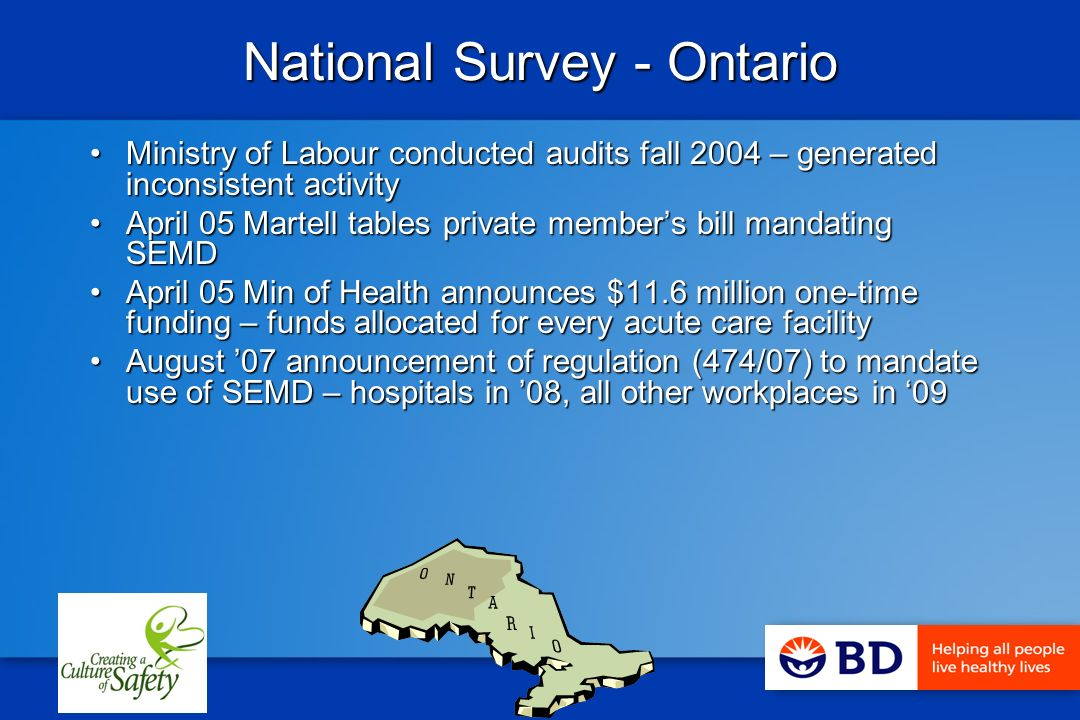 National Survey - Ontario Ministry of Labour conducted audits fall 2004 – generated inconsistent activityMinistry of Labour conducted audits fall 2004 – generated inconsistent activity April 05 Martell tables private members bill mandating SEMDApril 05 Martell tables private members bill mandating SEMD April 05 Min of Health announces $11.6 million one-time funding – funds allocated for every acute care facilityApril 05 Min of Health announces $11.6 million one-time funding – funds allocated for every acute care facility August 07 announcement of regulation (474/07) to mandate use of SEMD – hospitals in 08, all other workplaces in 09August 07 announcement of regulation (474/07) to mandate use of SEMD – hospitals in 08, all other workplaces in 09