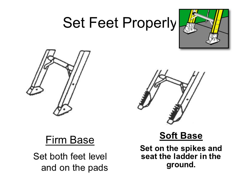 Set Feet Properly Firm Base Set both feet level and on the pads Soft Base Set on the spikes and seat the ladder in the ground.