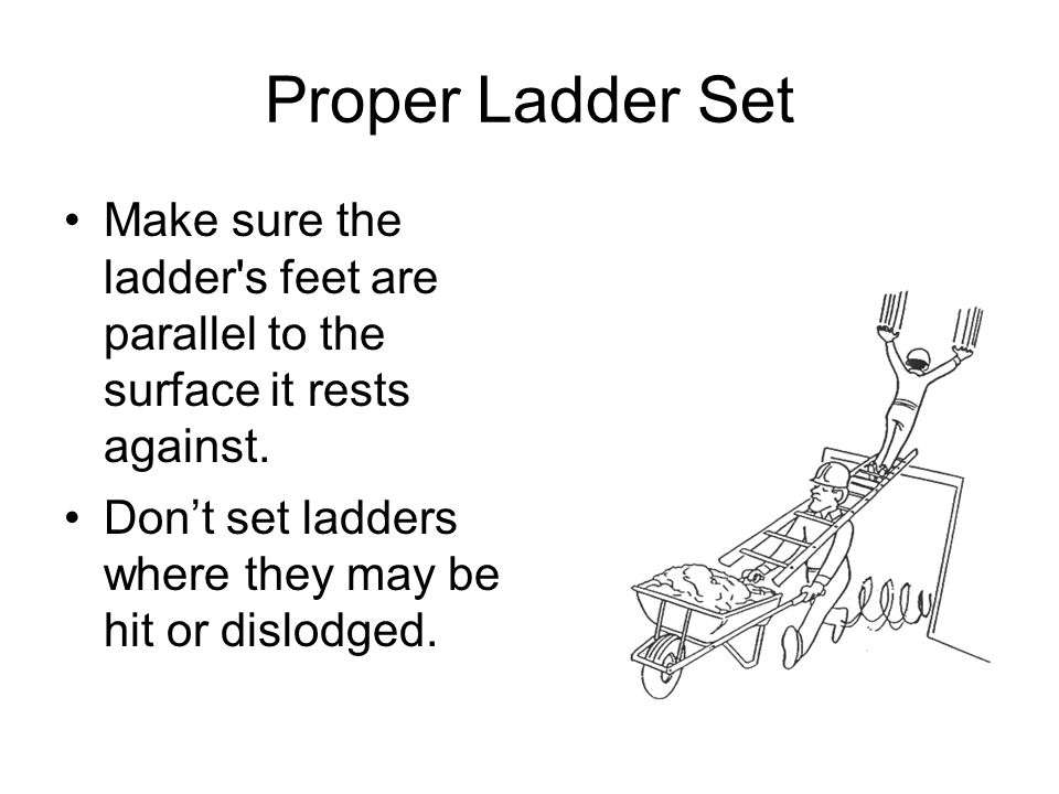 Proper Ladder Set Make sure the ladder's feet are parallel to the surface it rests against. Dont set ladders where they may be hit or dislodged.