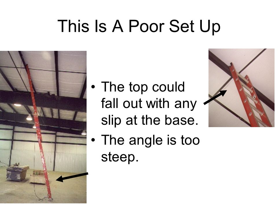 This Is A Poor Set Up The top could fall out with any slip at the base. The angle is too steep.