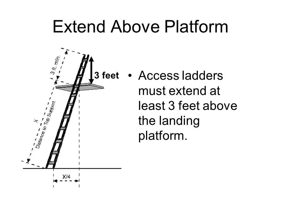 Extend Above Platform Access ladders must extend at least 3 feet above the landing platform. 3 feet