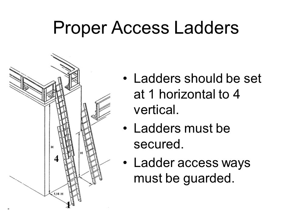 Proper Access Ladders Ladders should be set at 1 horizontal to 4 vertical. Ladders must be secured. Ladder access ways must be guarded. 4 1