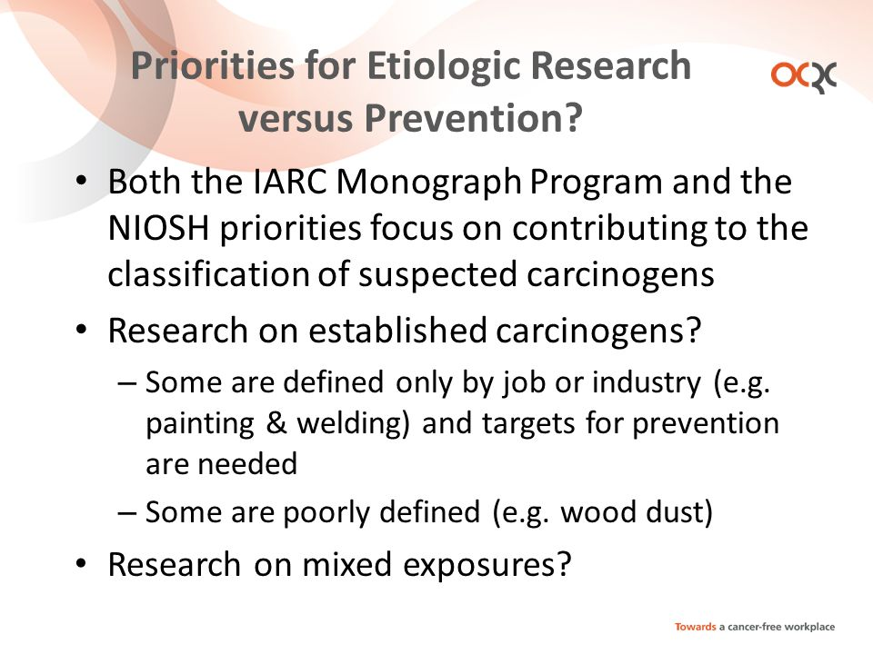 Priorities for Etiologic Research versus Prevention.