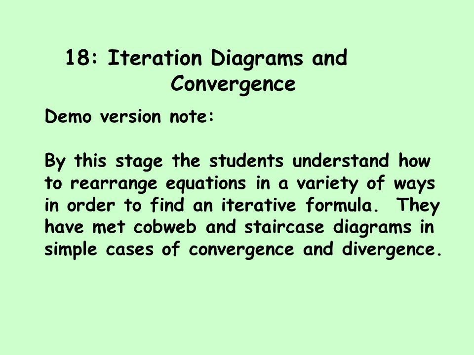 18: Iteration Diagrams and Convergence Demo version note: By this stage the students understand how to rearrange equations in a variety of ways in ord