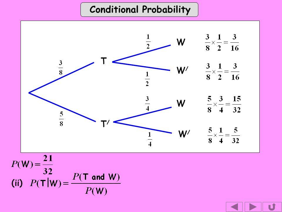 Conditional Probability W T T/T/ W W/W/ W/W/ (ii)