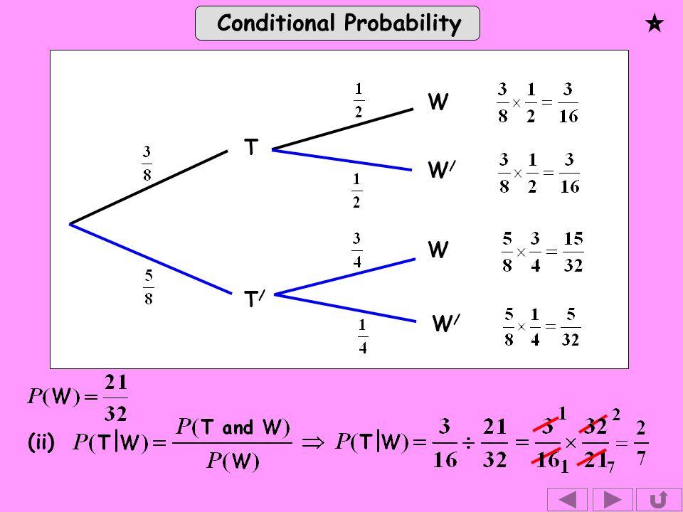 Conditional Probability (ii) W T T/T/ W W/W/ W/W/