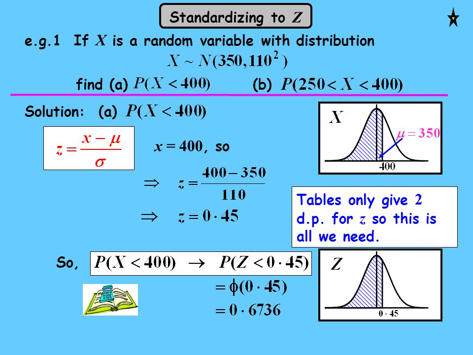 So, Tables only give 2 d.p. for z so this is all we need. Solution: (a) x = 400, so e.g.1 If X is a random variable with distribution find (a) (b) Sta