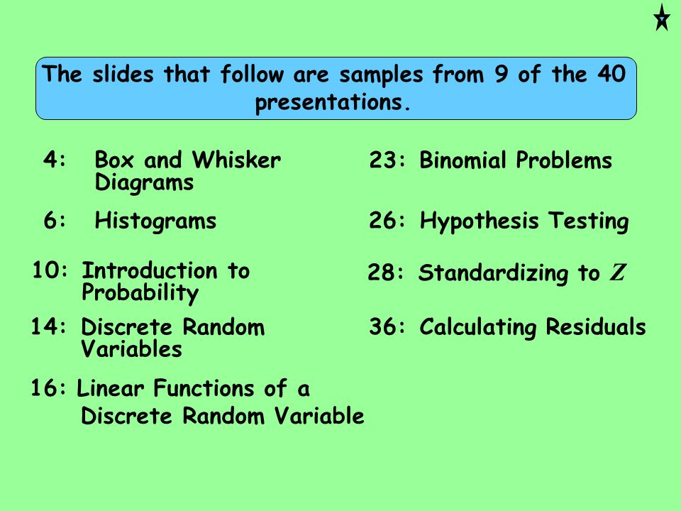 26:Hypothesis Testing 28:Standardizing to Z 16: Linear Functions of a Discrete Random Variable 14:Discrete Random Variables 6:Histograms 4:Box and Whi