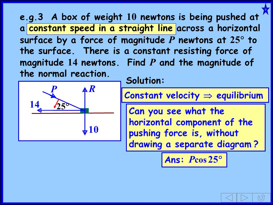 P 14 25 10 R Solution: Can you see what the horizontal component of the pushing force is, without drawing a separate diagram ? Ans: P cos 25 Constant