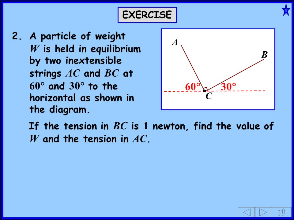 2.A particle of weight W is held in equilibrium by two inextensible strings AC and BC at 60 and 30 to the horizontal as shown in the diagram. If the t