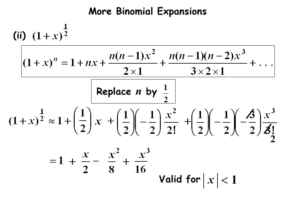 More Binomial Expansions (ii) Replace n by Valid for