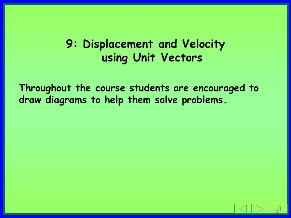 9: Displacement and Velocity using Unit Vectors Throughout the course students are encouraged to draw diagrams to help them solve problems.